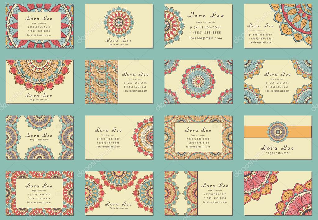 Flat Mandala Business card collection — Stock Vector © dellaliner ...