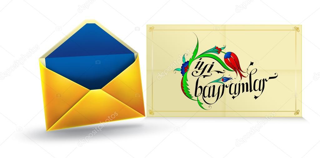 Postcard Greeting Message. Happy Holidays! Turkish Spelling.