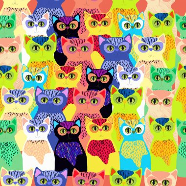 Cute colorful cats in cartoon style. Seamless.