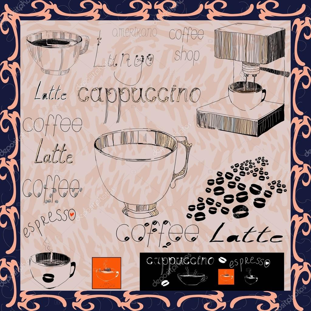 A set of drawings for the coffeeshop Cups, express, coffee beans, a set of labels for menu. Stylized sketch of a pen drawing