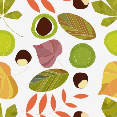 Autumn composition of leaves on a white background. Seamless pattern.