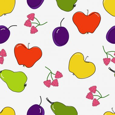Bright fruits and berries on a white background. Seamless.