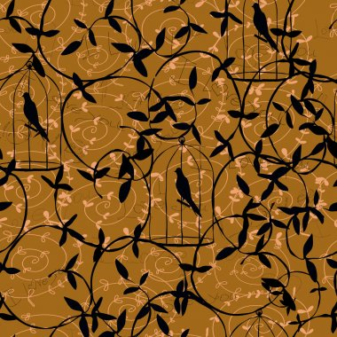 Graphic pattern with birds in brown and gold tones.Seamless.