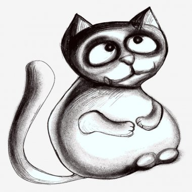 Cartoon cat. Black and white drawing.