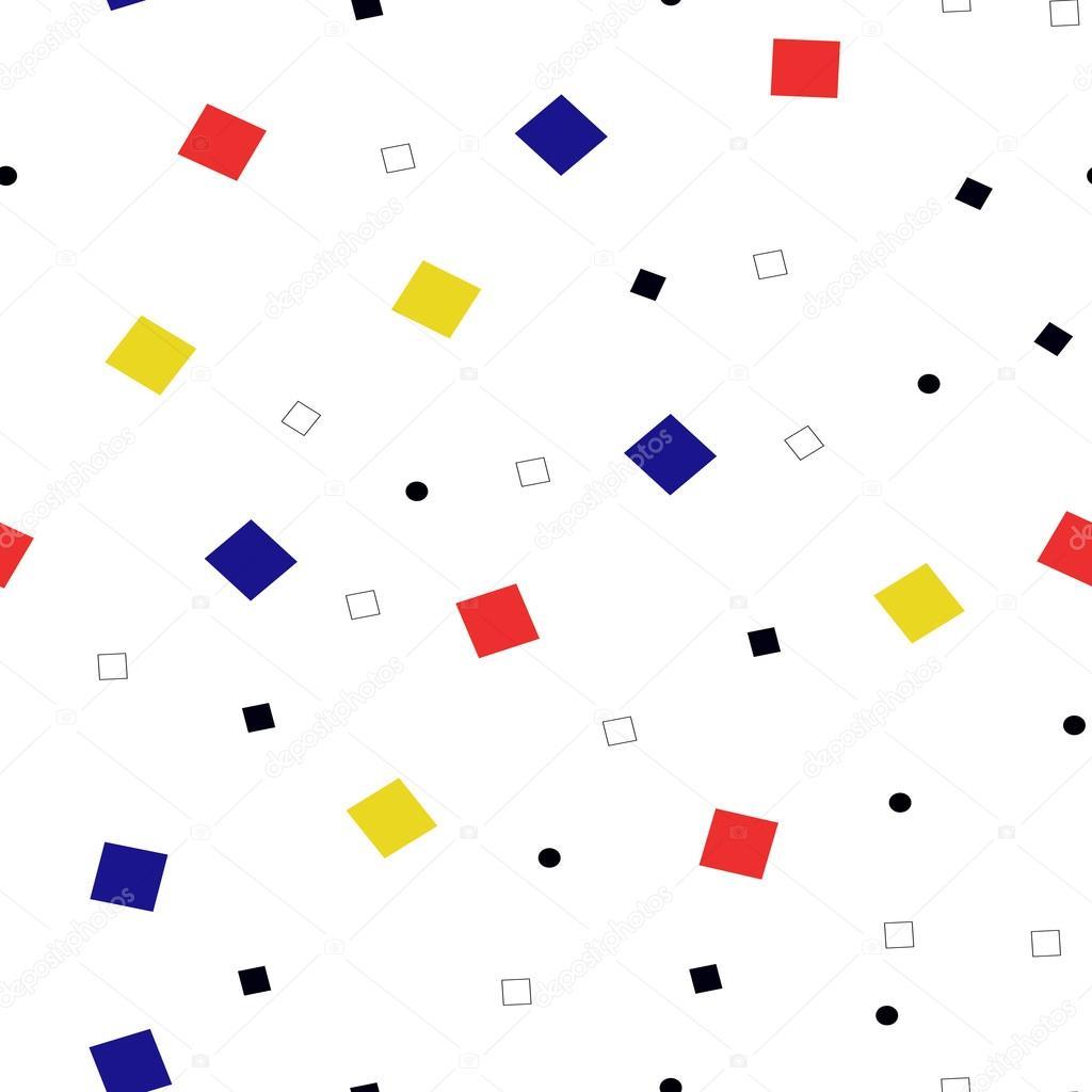 Patrón geométrico de los cuadrados de amarillo, azul, rojo y negro ...