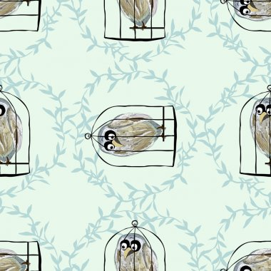 Birds in cages.Seamless.