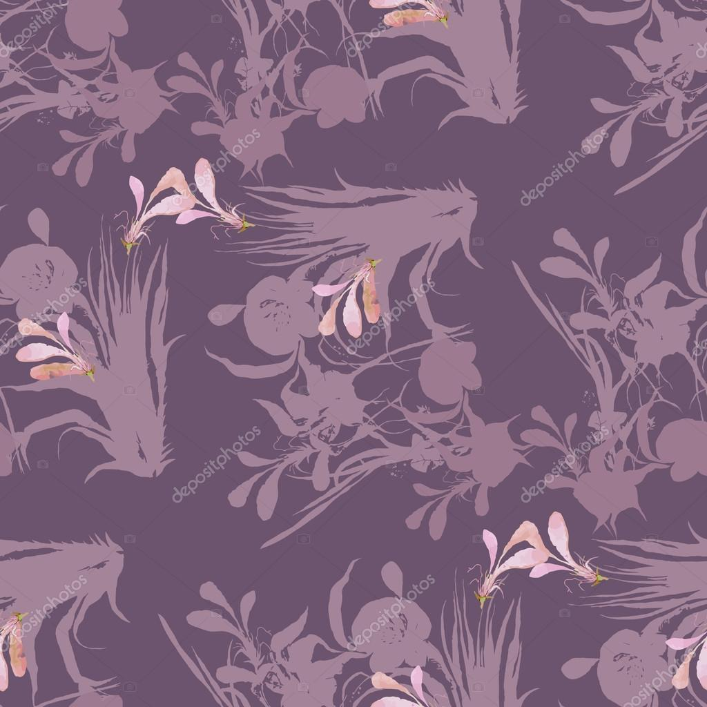 Beautiful pattern of flowers and leaves. Seamless with irises.