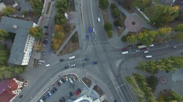 Crossroads of roads with birds-eye view. Aerial photography.