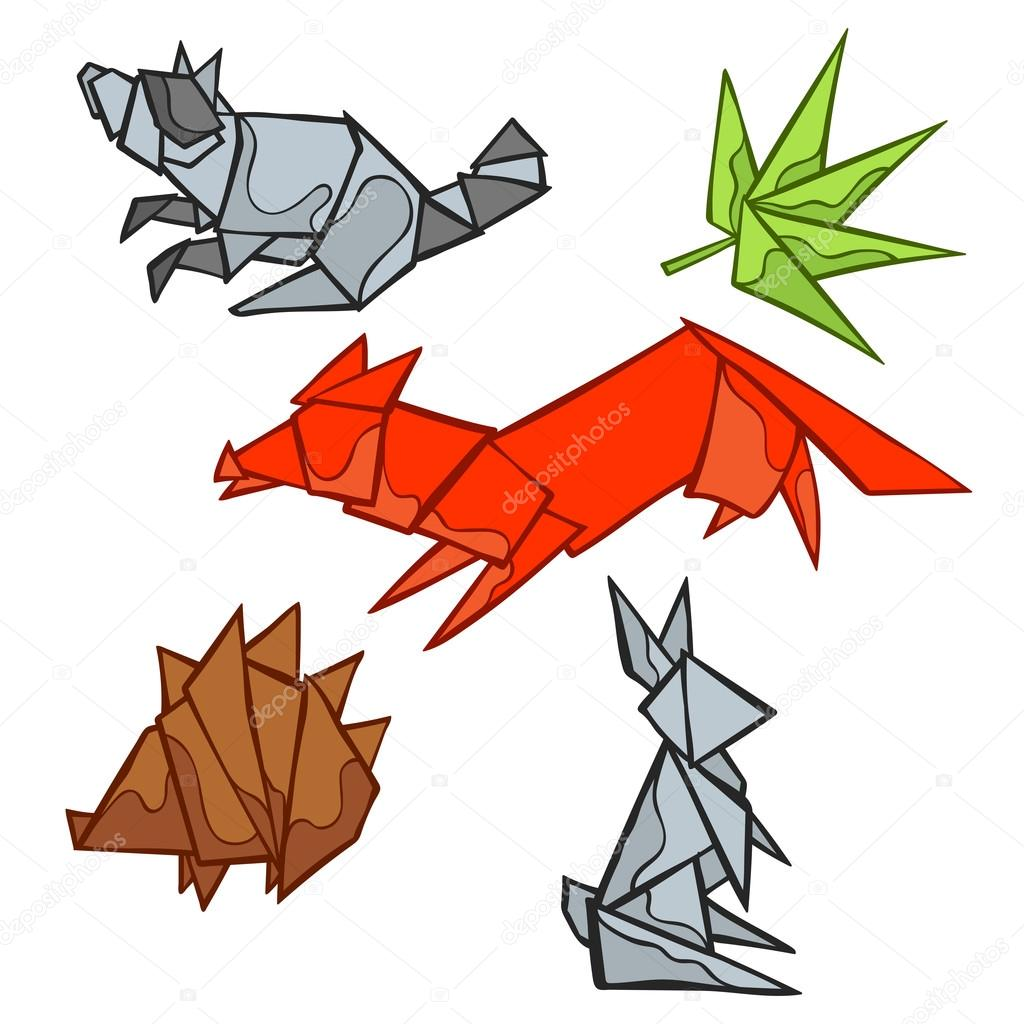 Origami Forest Animals Fox Raccoon Rabbit Hedgehog Leaf Isolated Vector Object On White Background Hand Drawing By EwaNew