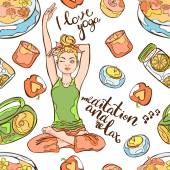 Fényképek I love yoga. Young beautiful girl. Yoga pose, lotus position. Meditation and relaxation. Tape, pleasant music, candle, flower, and fruit. Lettering. Seamless vector pattern (background).