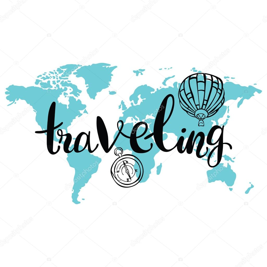 Traveling world map balloon and compass isolated vector object on world map balloon and compass isolated vector object on white background gumiabroncs Gallery
