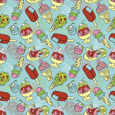 Ice cream. Vector seamless pattern (background).