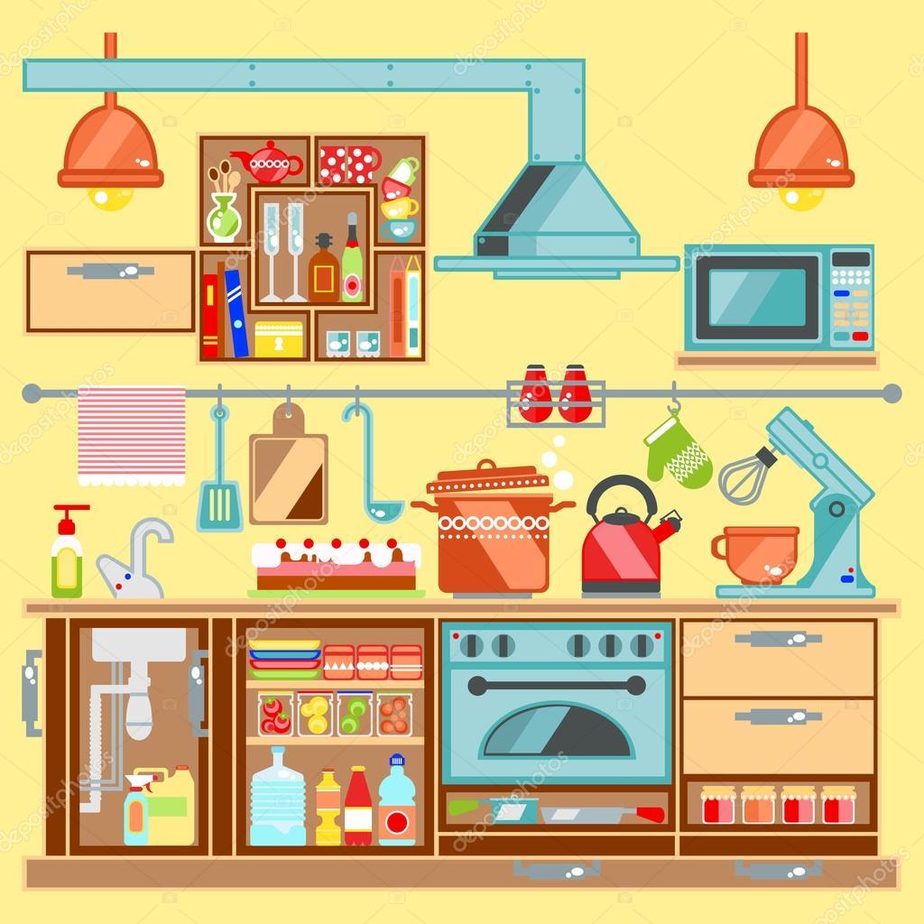 Kitchen with furniture kitchenware flat style vector illustration