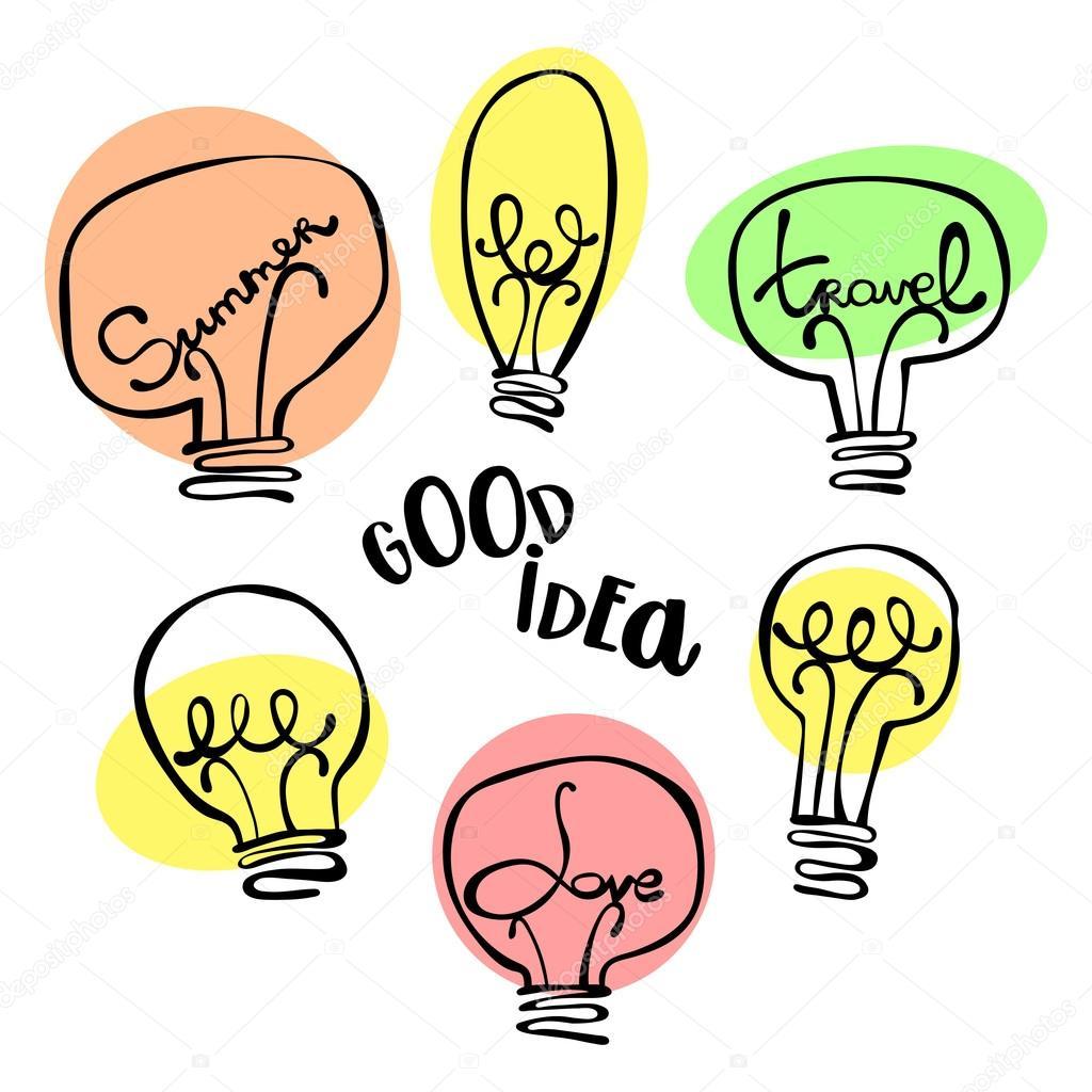 good idea love summer travel light bulb lettering isolated