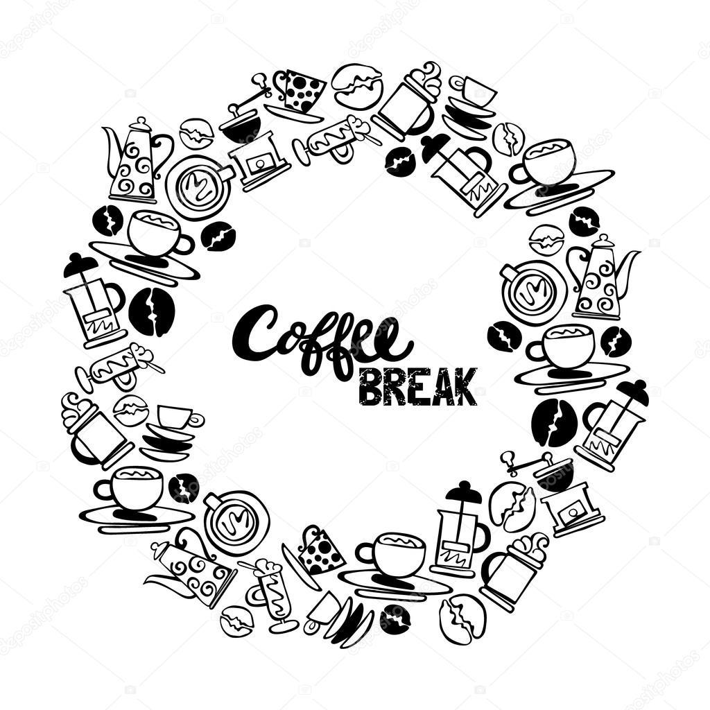 Kaffee. Satz. Kaffee und Kaffeetasse. Runde Rahmen - Kranz ...