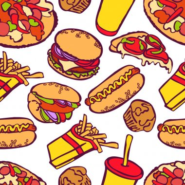Fast food. Vector seamless illustration, which shows: hamburger (tasty hamburger with tomatoes, cheese, sauces and meat), hot dog, pizza, sandwich, milkshake, French fries.