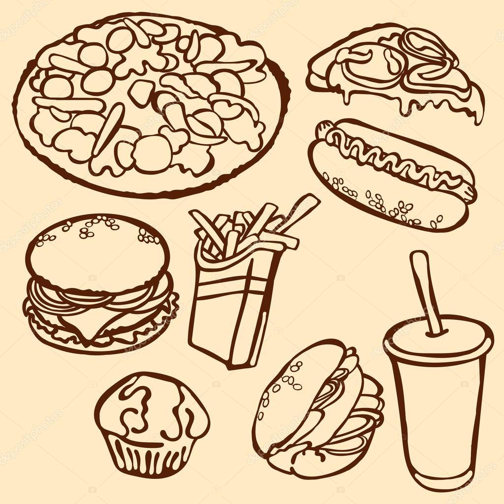 Comida rápida. Vector Ilustración, que muestra: Hamburguesa ...