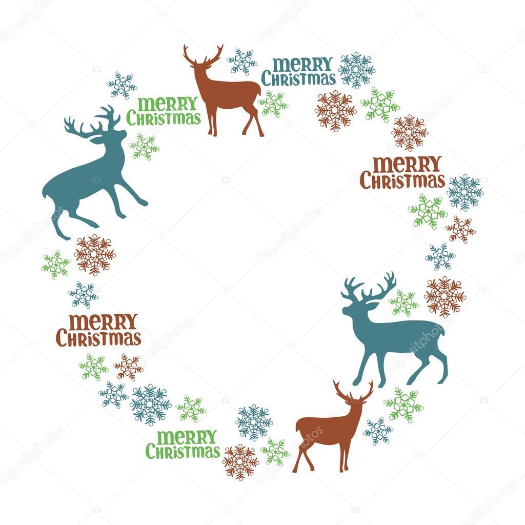 Merry Christmas. Deer. Frame - wreath. Winter pattern. — Stock ...