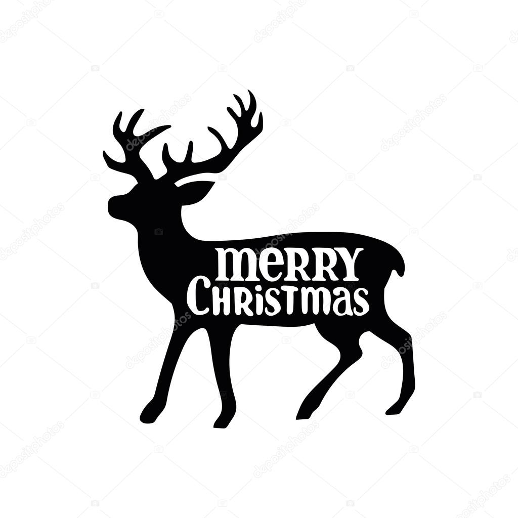 Merry Christmas Images Black And White.Merry Christmas Christmas Deer Black Pattern On White