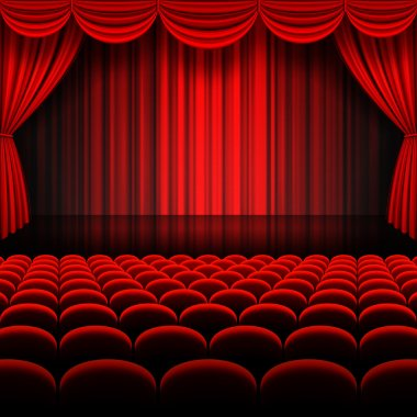 A vector illustrations of a Theater stage with red Full Stage Curtains stock vector