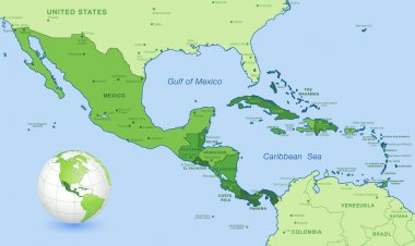 High Detail Central america Green vector Map Set