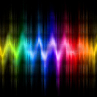 Sound wave display with visible spectrum colors