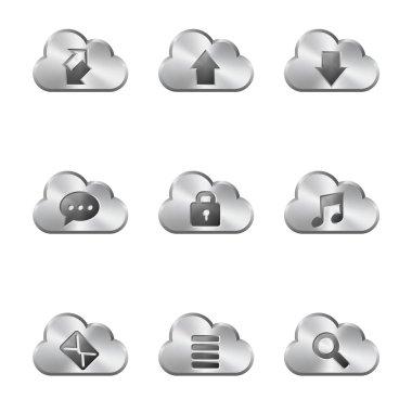 Metal Cloud Sharing Icons