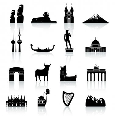 World Monuments and Culture Icon Set