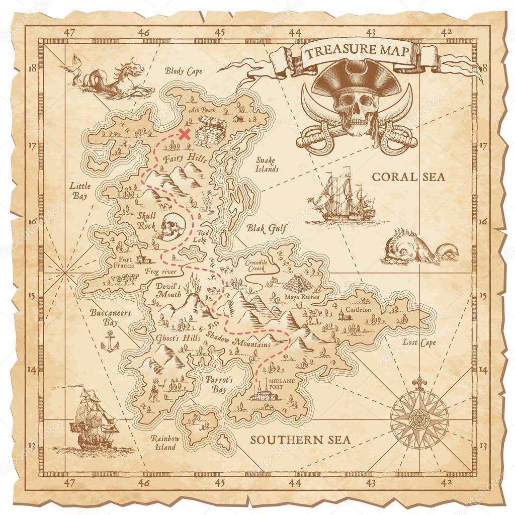 kincses térkép Szia részletesen vektor Kincses Térkép — Stock Vektor © pingebat  kincses térkép