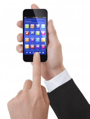 Hands using a generic smartphone with apps screen