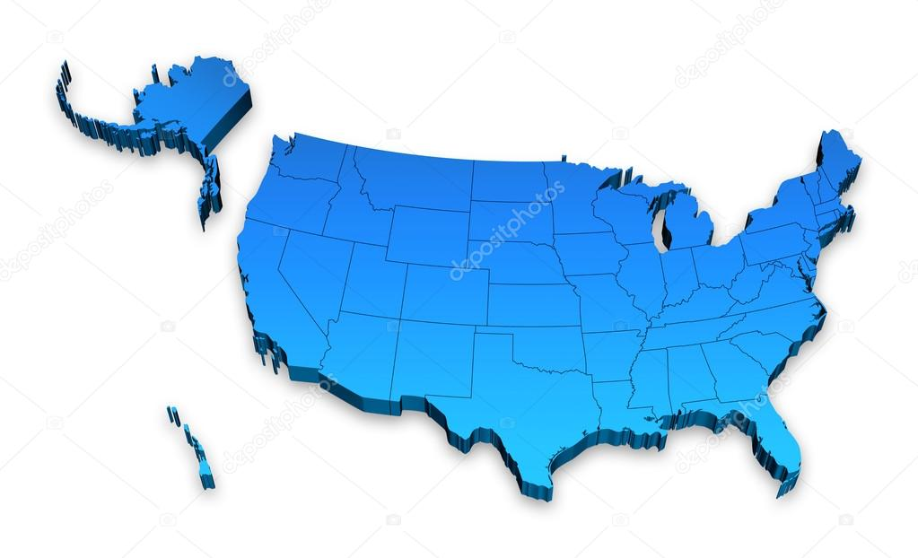 D Blue USA Administrative Map With Alaska And Hawaii Stock - Us map and alaska