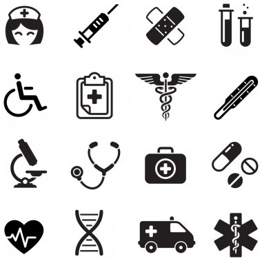 A cute icon set with lots of healthcare themed icons stock vector