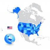 Photo USA High Detail Blue Map Set