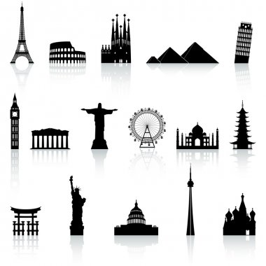 A collection of icons of famous places and monuments around the world stock vector