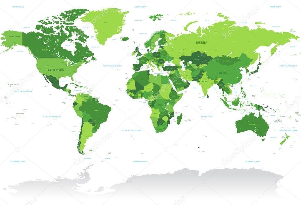 Vctor Green World Map — Stock Vector © pingebat #79243128