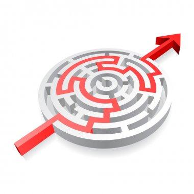 Round Red Solved Maze