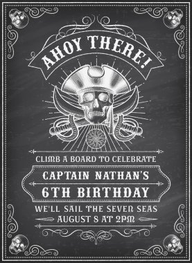 Chalkboard Death Pirate Invite 2