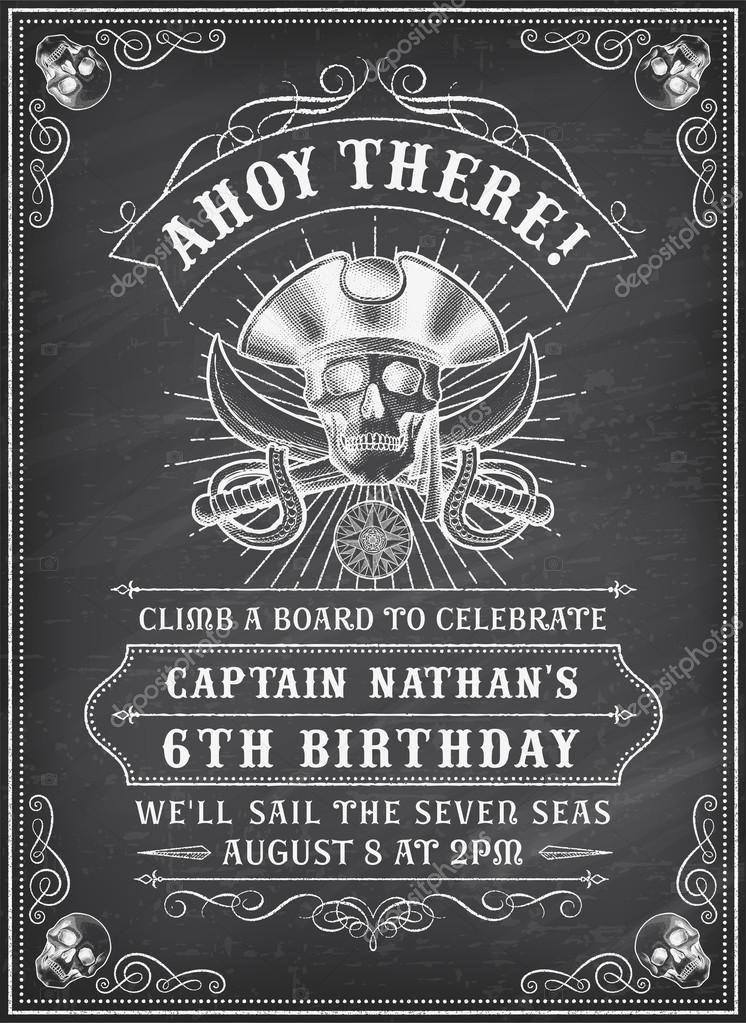 Invitan a pizarra muerte pirata 2 — Archivo Imágenes Vectoriales ...