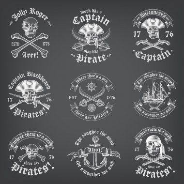Chalkboard Death Pirate Logos