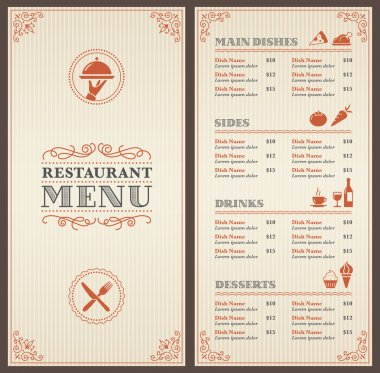 A Classic Restaurant Menu Template with nice Icons in an Elegant Style stock vector