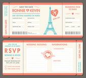 Vektorové Paříž svatební pozvání lístky