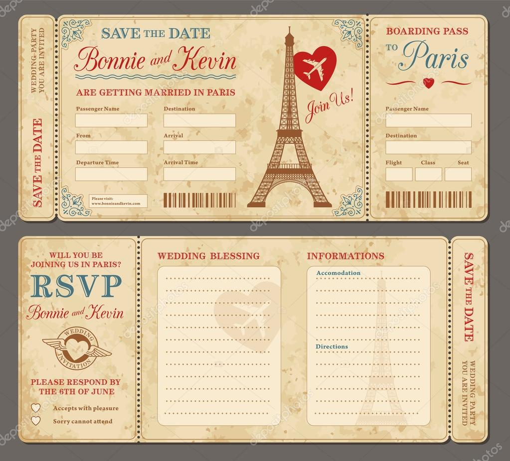 501 Paris Wedding invitation def — Stock Vector © pingebat #81804010