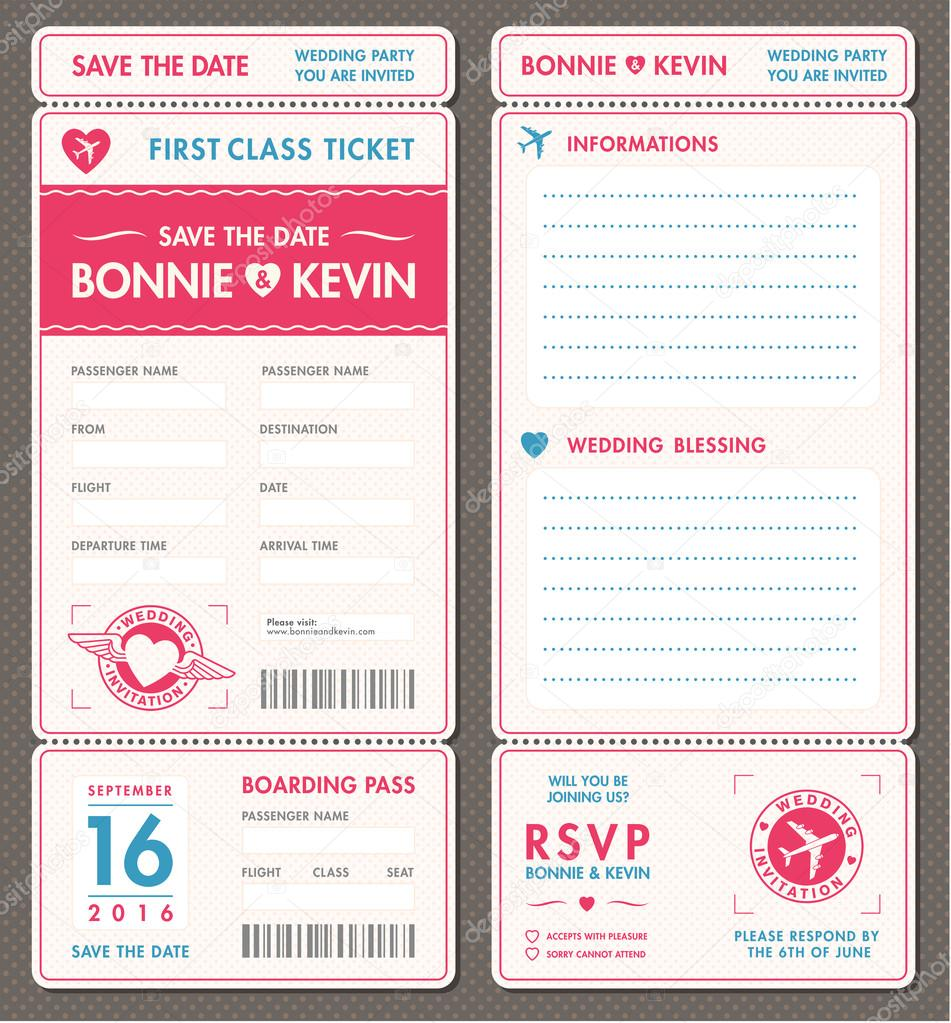 Vektor Hochzeit Einladung Karten U2014 Stockvektor