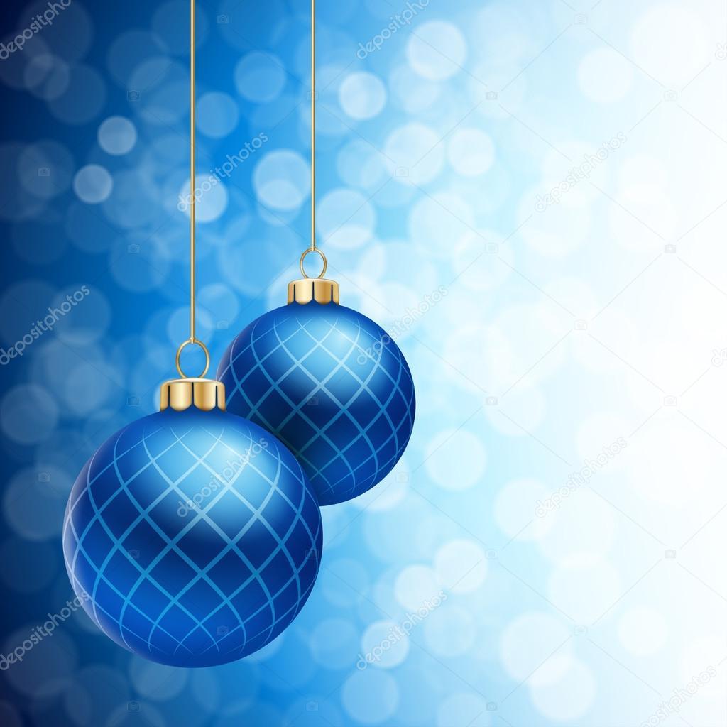 Bolas de natal azul em um reflexo desfocado fundo - Bolas navidad de papel ...