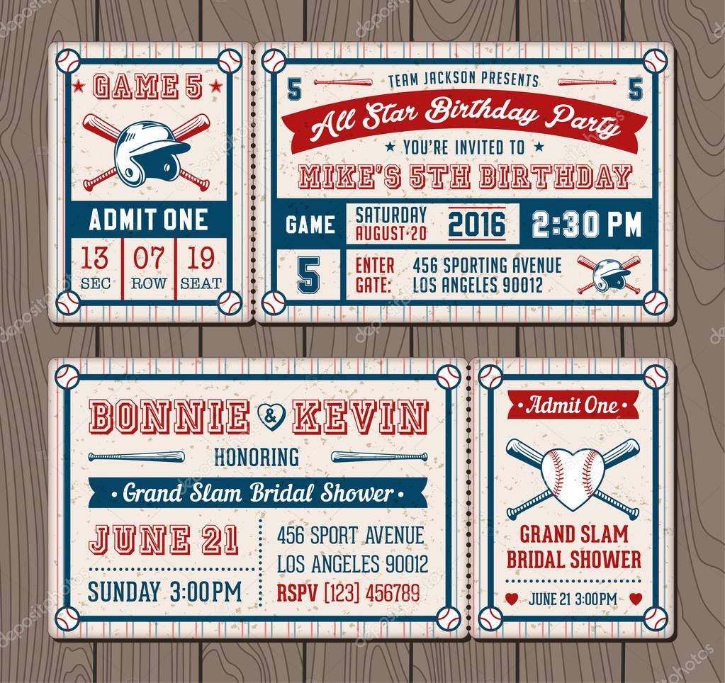 vector baseball event invites stock vector