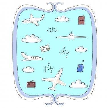 Vector illustration set of planes and things connected with flights, clouds, bags and documents in decorative frame stock vector