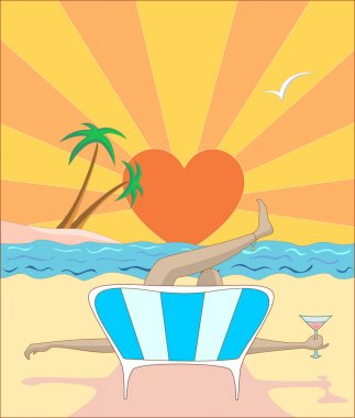 Vector illustration woman lying on beach during sunset