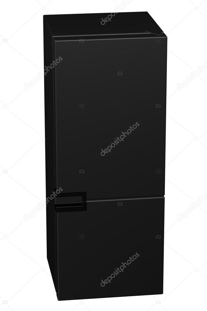 Schwarzer Kühlschrank. 3D-Rendering — Stockfoto © ARudolf #110610892