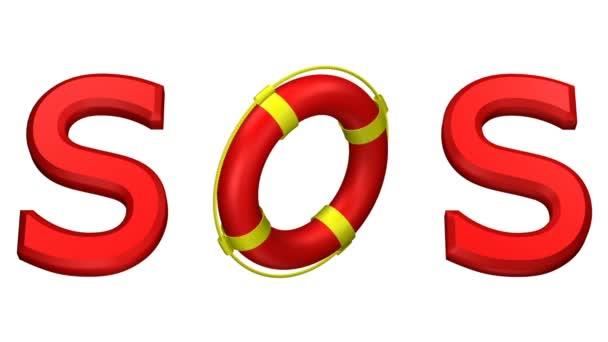 Konzept: Wort sos mit drehbarem Rettungsring. 3D-Darstellung.