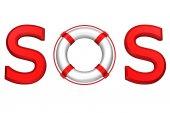 Koncept: slovo Sos s záchranný kruh. 3D vykreslování
